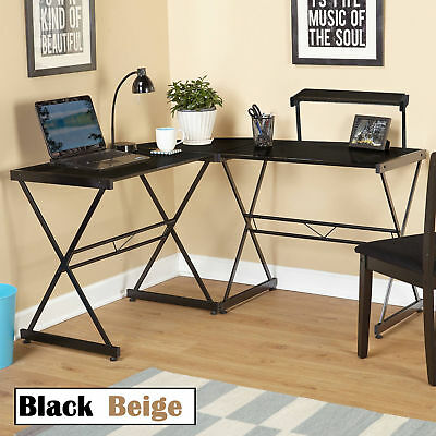 Large Computer Corner Desk Keyboard Shelf Workstation Table Home Office Study