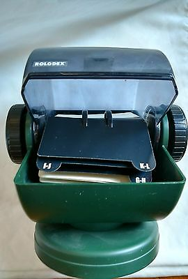 Vintage Rolodex Rotary Swivel Card File with Cards,GREEN  NSW-24C, USA MADE