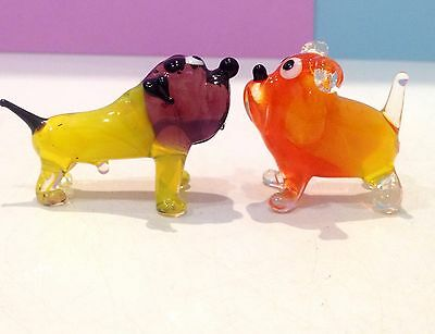 English Bulldog miniature figurine dogs blown glass Russian Souvenirs