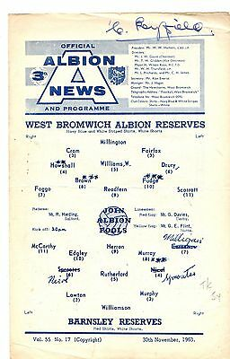 1963-1964 West Bromwich Abion Reserves v Barnsley