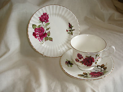 Vintage Mix And Match  Bone China Trio With Red And White Roses Design