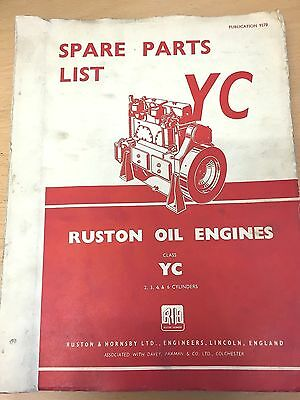 Ruston Hornsby Yc Oil Engines Spare Parts List 2,3,4 & 6 Cylinders 1956 Vgc