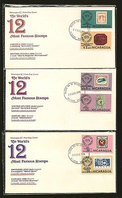 Nicaragua 6 1976 12 Most Famous Stamps FDCs Fleetwood
