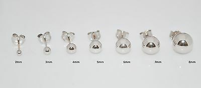 14K Solid White Gold Round Ball Push Back Stud Earrings High Polished