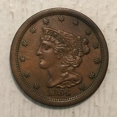 1854 1/2C BN Braided Hair Half Cent AU Details