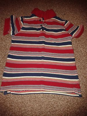 Mothercare Red Striped Cotton Polo style T-shirt 4-5 yrs