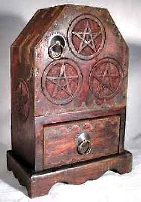 Pentagram Pentacle Wood Herb Cupboard Ritual Tool Chest Altar Wicca Pagan Occult