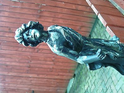 "Vintage cast metal figurine dancing lady (shabby chic) 15"" high"
