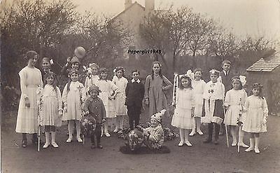 School Class All In fancy Dress Real Photograph Postcard.c.1900/10