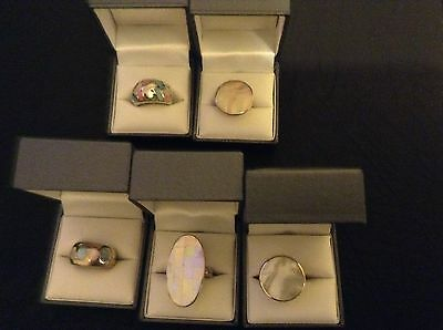 wholesale joblot 5 rings 925 silver mother of pearl with ring boxes UK Seller