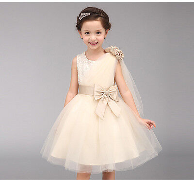 Girls Formal Satin & Organza Ball Gown Dress Weddings Bridesmaids/Flower Girl