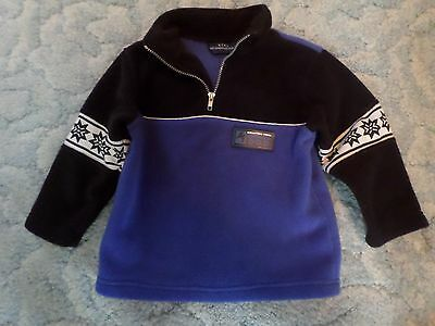 Boys Blue And Black Kids Headquarters Size 2T 1/2 Zip Sweater Pullover