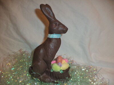 Ceramic Chocolateeaster Rabbit With Basket Of Eggs Figurine