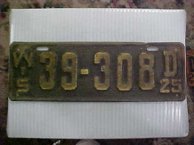 1925 Wisconsin License Plate Original Paint & Condition