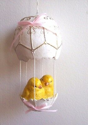 """Bethany Lowe """"Chick's Hot Air Balloon"""" Ornament (Pink) (TD5001)"""