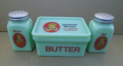 Sunbeam Bread Salt Pepper & Butter Dish Depression Style Glass JADE Jadeite NEW