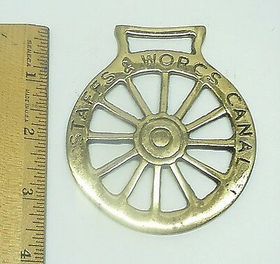 Brass Horse Medallion Staffs & Worcs Canall Saddle Decor Ornaments Equestrian