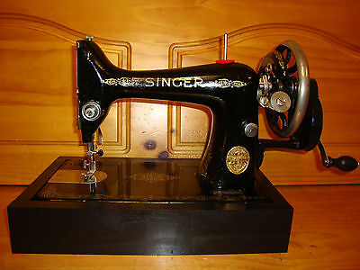 Antique Singer Sewing Machine Model 99K ,hand Crank,leather,serviced