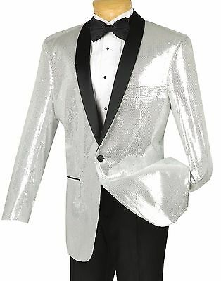 Men's Silver Sequins 1 Button Shawl Collar Sport Jacket Blazer NEW
