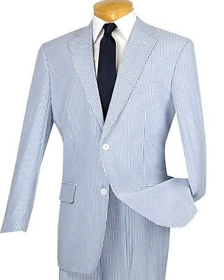 Men's Blue Striped Seersucker 2 Button Classic Fit Suit 100% Cotton NEW