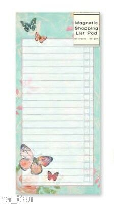 Magnetic Fridge Notepad Shopping List Kitchen Butterfly Rose