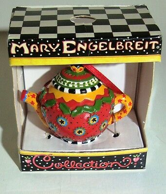 New in Package 1997 MARY ENGELBREIT Miniature TEA POT COLLECTION Ornament