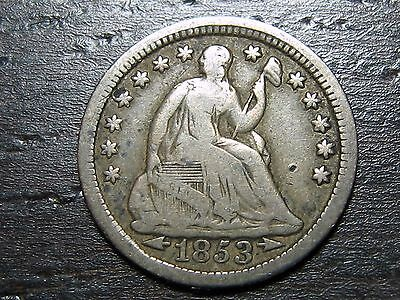 1853 ARROWS Seated Liberty Half Dime  -  MAKE US AN OFFER!  #O8909