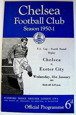 Chelsea v Exeter City 1950/51 FA. Cup R4. Replay programme.