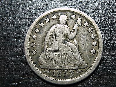 1853 ARROWS Seated Liberty Half Dime  -  MAKE US AN OFFER!  #O8910