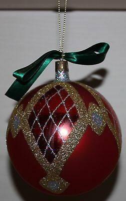 Waterford Christmas Round Ornament Red/Gold