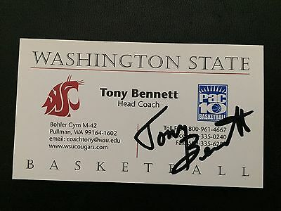 TONY BENNETT autograph WASHINGTON STATE COUGARS business card signed