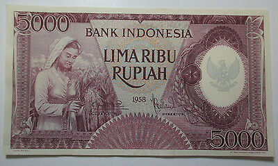 Vintage - 1958 - Indonesia - Bank Indonesia - 5000 Rupiah - Free Shipping!!!