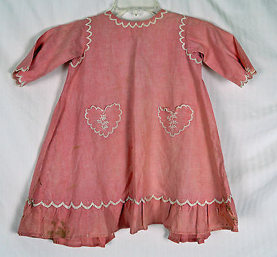 Antique 1870s ? Girl Dress w Heart Pockets Victorian Child Doll w Petticoat