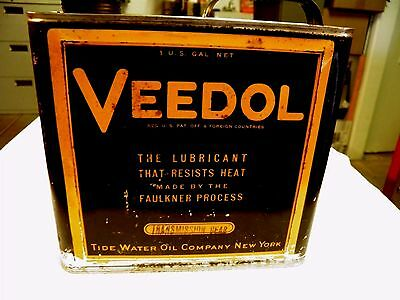 Veedol 1 Gallon Oil Can Transmission Gear Fluid Soldered Pour Spout Nice Clean!!