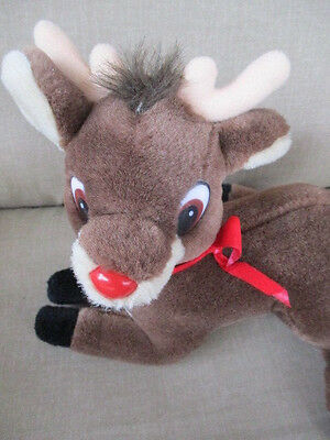 """Vintage RUDOLPH the Red Nose Reindeer Holiday 8"""" Plush Stuffed Sit Pose"""