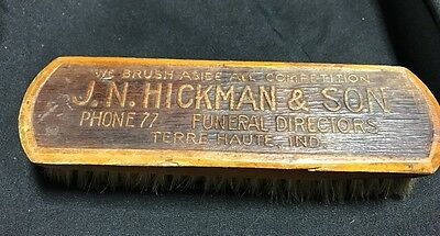 Vtg Wooden Advertising Shoe Brush HICKMAN & SONS FUNERAL HOME Terre Haute IN