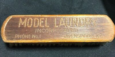 Vtg Wooden Advertising Clothes Brush MODEL LAUNDRY Owensboro Kentucky