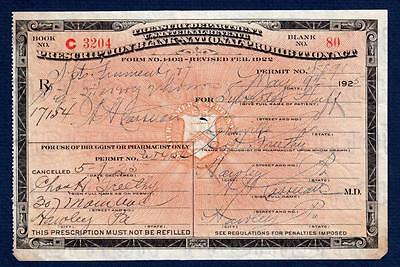Prohibition Prescription Antique 5/9 1925 Huff Whiskey Doctor Pharmacy Bar Rx