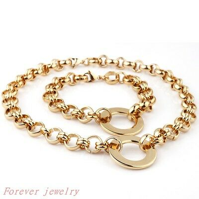 """12mm Fashion Sets Stainless Steel Women's Gold Round Chain Necklace18""""Bracelet8"""""""
