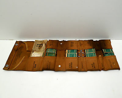 Vintage First Aid Kit Bullard roll with most of contents E D Bullard Co