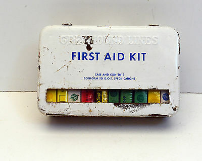 Vintage First Aid Kit Greyhound Bus lines - Full