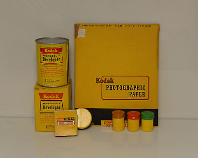 Vintage Kodak Paper Developer Film Cannister and Filters Photography Display