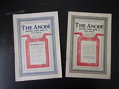 """Two 1930 """"The Anode"""" Anaconda Copper Mining Co. Monthly News Magazine July & Aug"""