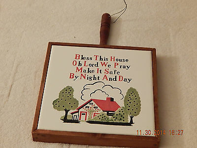 Vintage Antique Trivet w/wood border BLESS THIS HOUSE wall Hanging Made in Japan