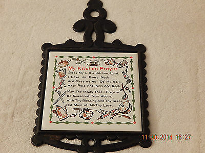 Vintage Antique Cast Iron Trivet with Ceramic My Kitchen Prayer,Made in Japan