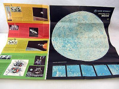 "large vintage poster 1969 Rand McNally MAP of The MOON - 24.5"" x 18.5"" tear"