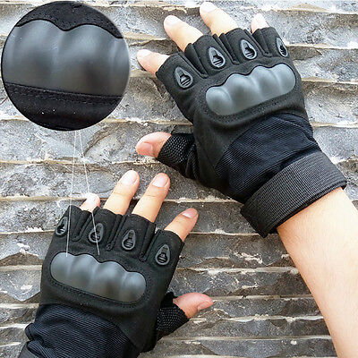 Tactical Fingerless 1/2 Finger Carbon Fiber Kevlar Hard Knuckle Shooting Gloves