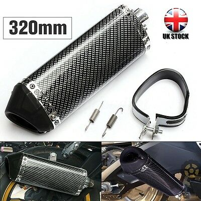 Universal 38mm Motorcycle Carbon Fiber Exhaust Muffler w/ Removable Silencer -UK