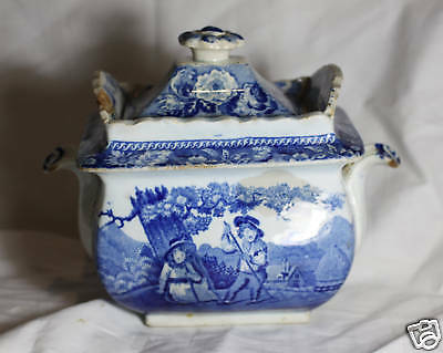 Clews Stone China Flow Blue Tea canister SUGAR BOX