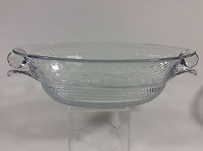 Vintage Duncan Miller Tear Drop Pattern Cut Flower Glass Oval Bowl 12""